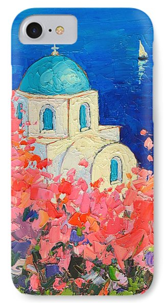 Santorini Impression - Full Bloom In Santorini Greece IPhone Case by Ana Maria Edulescu