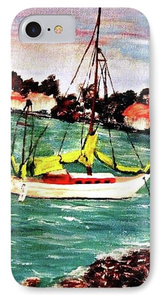Sarasota Bay Sailboat IPhone Case by Angela Murray
