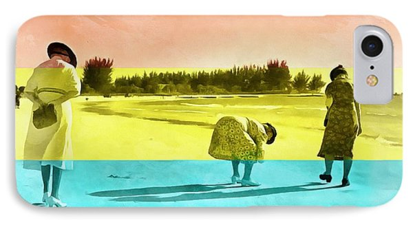 IPhone Case featuring the painting Sarasota Series Beachcombers by Edward Fielding