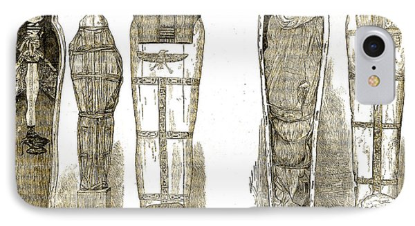 Sarcophagi And Egyptian Mummies IPhone Case by Wellcome Images