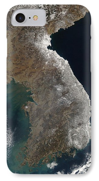 Satellite View Of Snowfall Along South Phone Case by Stocktrek Images