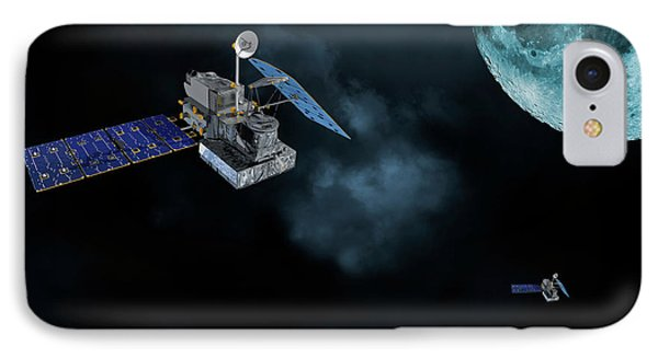 Satellites In Orbit Around The Moon IPhone Case by Christian Lagereek