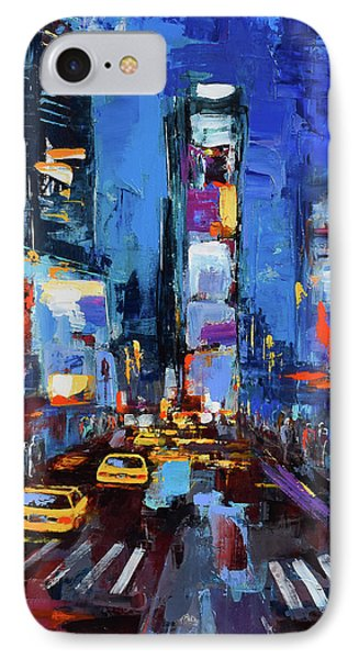 Saturday Night In Times Square IPhone 7 Case by Elise Palmigiani