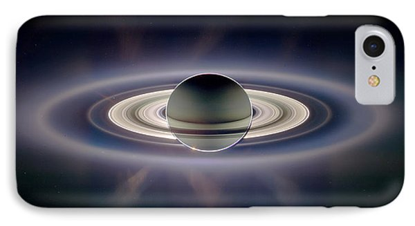 Saturn Silhouetted, Cassini Image Phone Case by Nasajplspace Science Institute