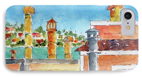 IPhone Case featuring the painting Sausalito Smokestacks by Pat Katz