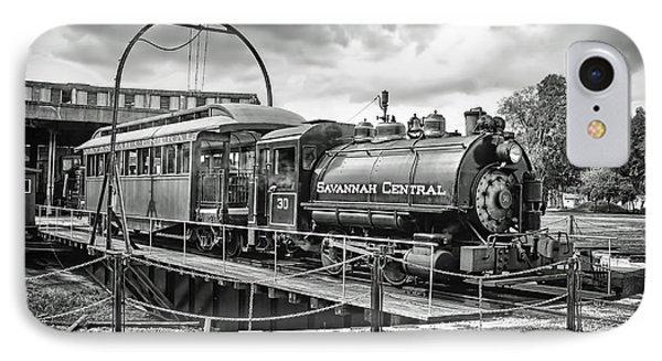 Savannah Central Steam Engine On Turn Table IPhone Case by Scott Hansen