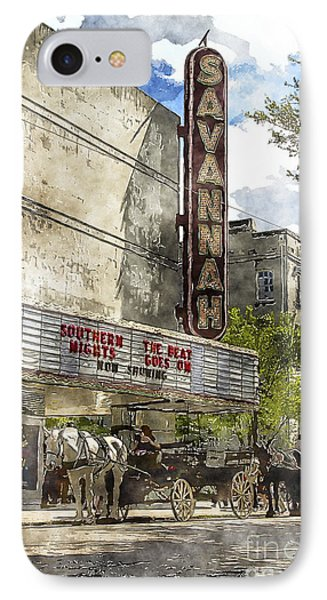 Savannah Theatre IPhone Case by Carrie Cranwill