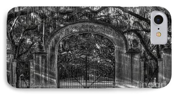 IPhone Case featuring the photograph Savannah's Wormsloe Plantation Gate Bw Live Oak Alley Art by Reid Callaway