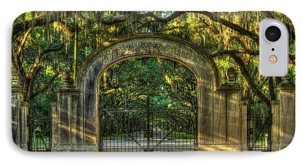 IPhone Case featuring the photograph Savannah's Wormsloe Plantation Gate Live Oak Alley Art by Reid Callaway