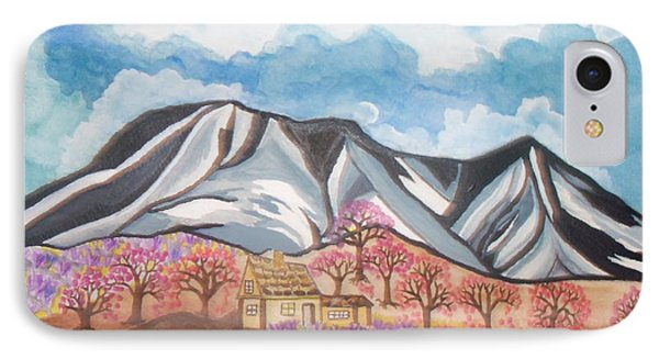 IPhone Case featuring the painting Sawtooth Mountain Farm by Connie Valasco