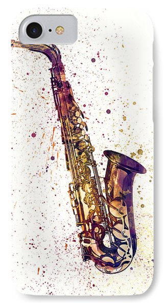 Saxophone iPhone 7 Case - Saxophone Abstract Watercolor by Michael Tompsett