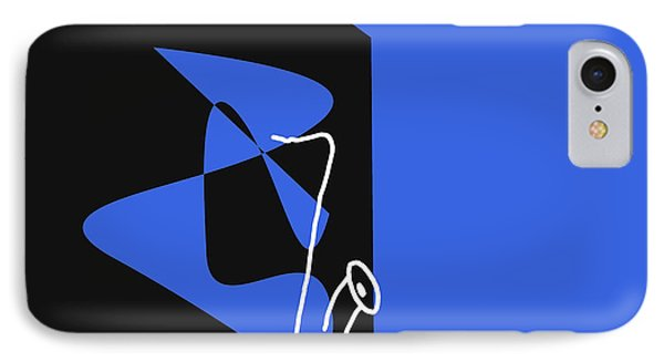 IPhone Case featuring the digital art Saxophone In Blue by Jazz DaBri