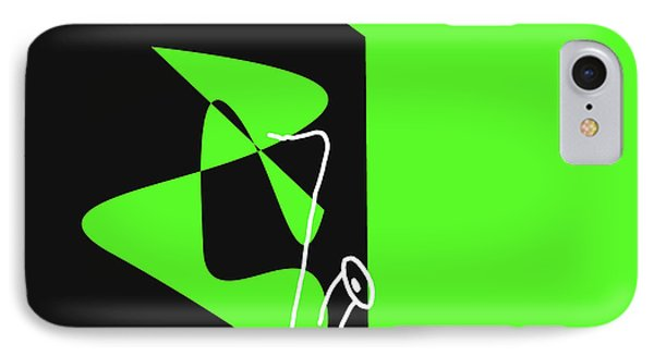 IPhone Case featuring the digital art Saxophone In Green by Jazz DaBri