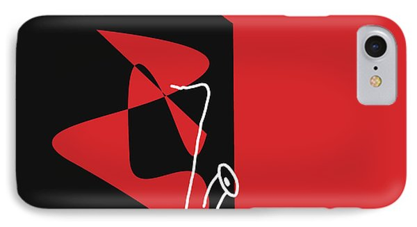 IPhone Case featuring the digital art Saxophone In Red by Jazz DaBri