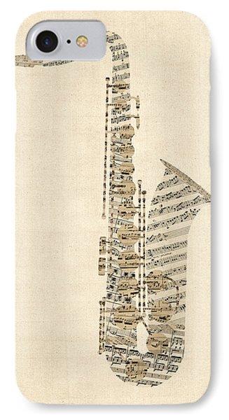 Saxophone iPhone 7 Case - Saxophone Old Sheet Music by Michael Tompsett