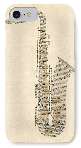 Saxophone Old Sheet Music IPhone Case by Michael Tompsett