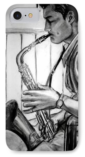 Saxophone Player Phone Case by Laura Rispoli