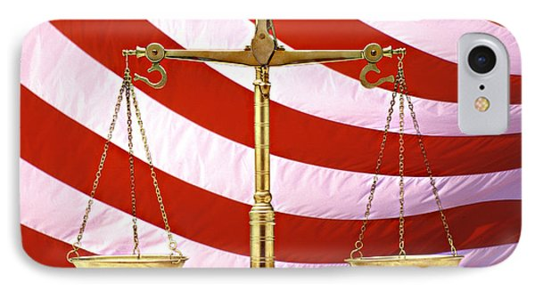 Scales Of Justice American Flag IPhone Case by Panoramic Images