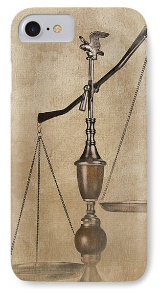 Punishment iPhone 7 Case - Scales Of Justice by Tom Mc Nemar