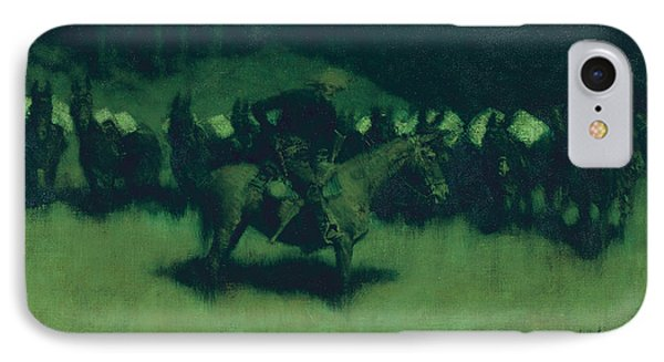 Scare In A Pack Train IPhone 7 Case by Frederic Remington