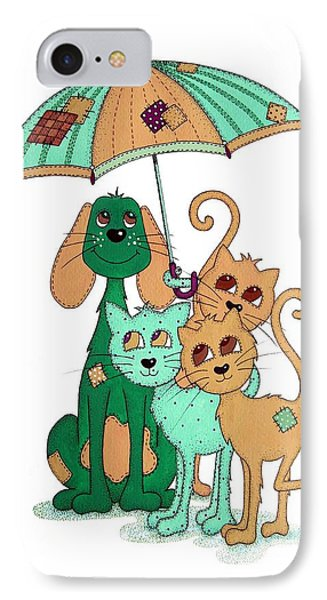 Scarecrow Dog Cats And Brolly IPhone Case by Sandra Moore