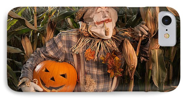 Scarecrow With A Carved Pumpkin  In A Corn Field IPhone Case by Oleksiy Maksymenko