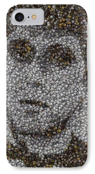 IPhone Case featuring the mixed media Scarface Coins Mosaic by Paul Van Scott