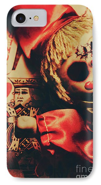 Scary Doll Dressed As Joker On Playing Card IPhone Case by Jorgo Photography - Wall Art Gallery