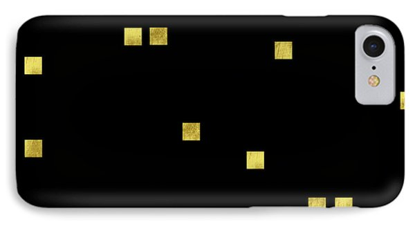 Scattered Gold Square Confetti Gold Glitter Confetti On Black IPhone Case by Tina Lavoie