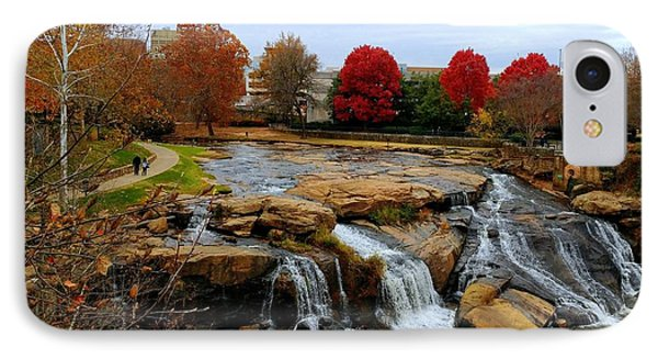 Scene From The Falls Park Bridge In Greenville, Sc IPhone Case by Kathy Barney