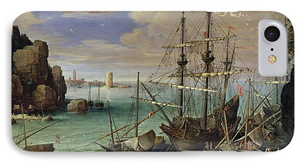 Scene Of A Sea Port Phone Case by Paul Bril