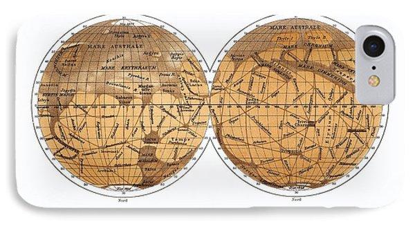 Schiaparelli's Map Of Mars, 1877-1888 Phone Case by Detlev Van Ravenswaay