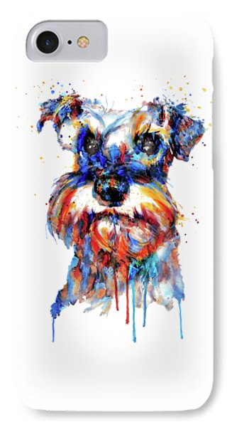 IPhone Case featuring the mixed media Schnauzer Head by Marian Voicu