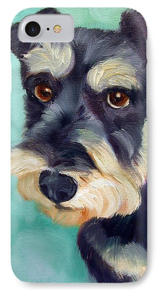 Schnauzer IPhone Case by Lyn Cook