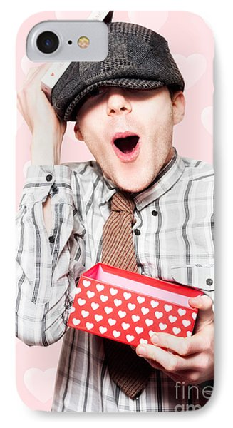 School Boy In Love Holding Valentines Day Present IPhone Case by Jorgo Photography - Wall Art Gallery