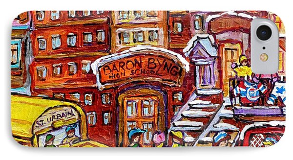 School Bus Rue St Urbain Baron Byng High Montreal 375 Hockey Art Colorful Street Scene Painting      IPhone Case by Carole Spandau