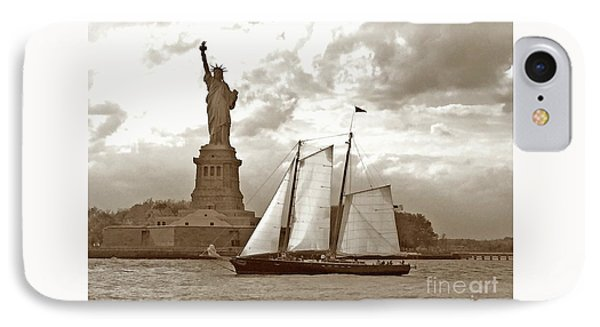 Schooner At Statue Of Liberty Twurl IPhone Case by Tom Wurl