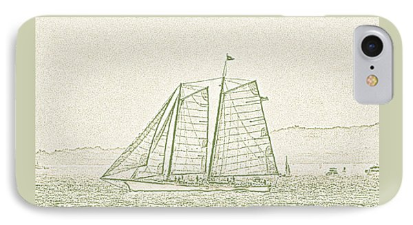 Schooner On New York Harbor No. 3-2 IPhone Case by Sandy Taylor