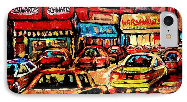 Schwartz's Deli At Night Phone Case by Carole Spandau
