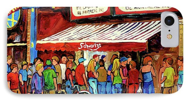 Schwartzs Deli Lineup IPhone Case by Carole Spandau
