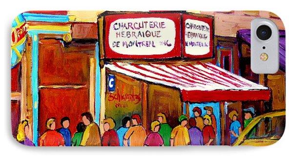 Schwartzs Hebrew Deli Montreal Streetscene Phone Case by Carole Spandau