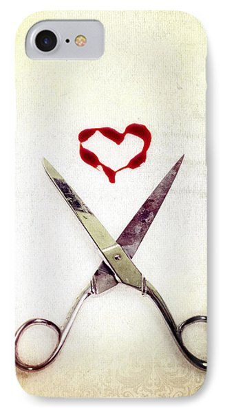 Scissors And Heart IPhone Case by Joana Kruse