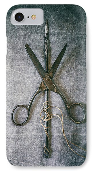 Scissors And Needle IPhone Case by Carlos Caetano