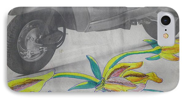 Scooter And Flower Design IPhone Case by Artist Nandika  Dutt