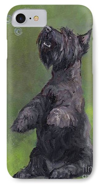 Scottie Likes Bubbles Phone Case by Charlotte Yealey