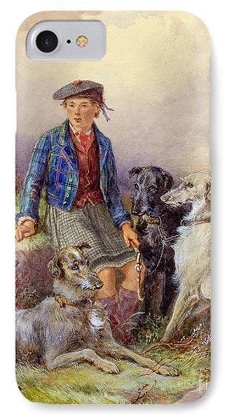 Scottish Boy With Wolfhounds In A Highland Landscape IPhone Case by James Jnr Hardy