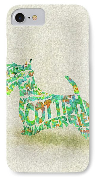 IPhone Case featuring the painting Scottish Terrier Dog Watercolor Painting / Typographic Art by Ayse and Deniz