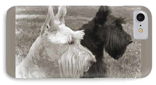 Scottish Terrier Dogs In Sepia Phone Case by Jennie Marie Schell