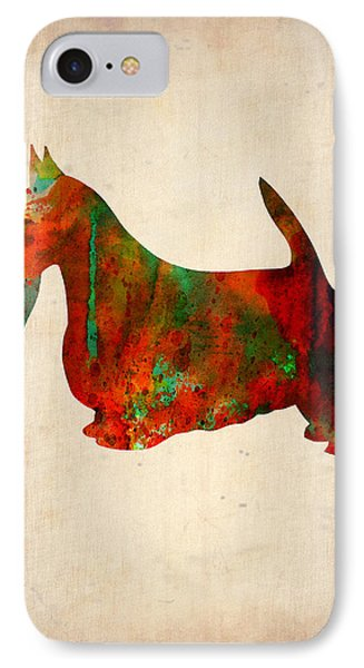 Scottish Terrier Watercolor 2 Phone Case by Naxart Studio