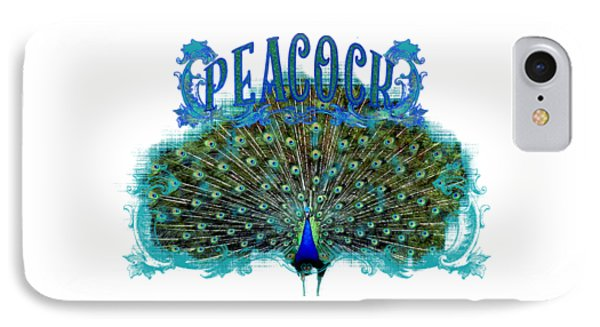 Scroll Swirl Art Deco Nouveau Peacock W Tail Feathers Spread IPhone Case